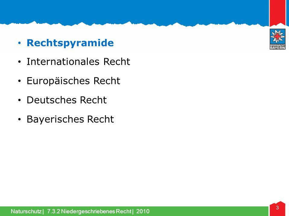 Naturschutz | 3 Internationales Recht Rechtspyramide Europäisches Recht Deutsches Recht Bayerisches Recht 7.3.2 Niedergeschriebenes Recht | 2010