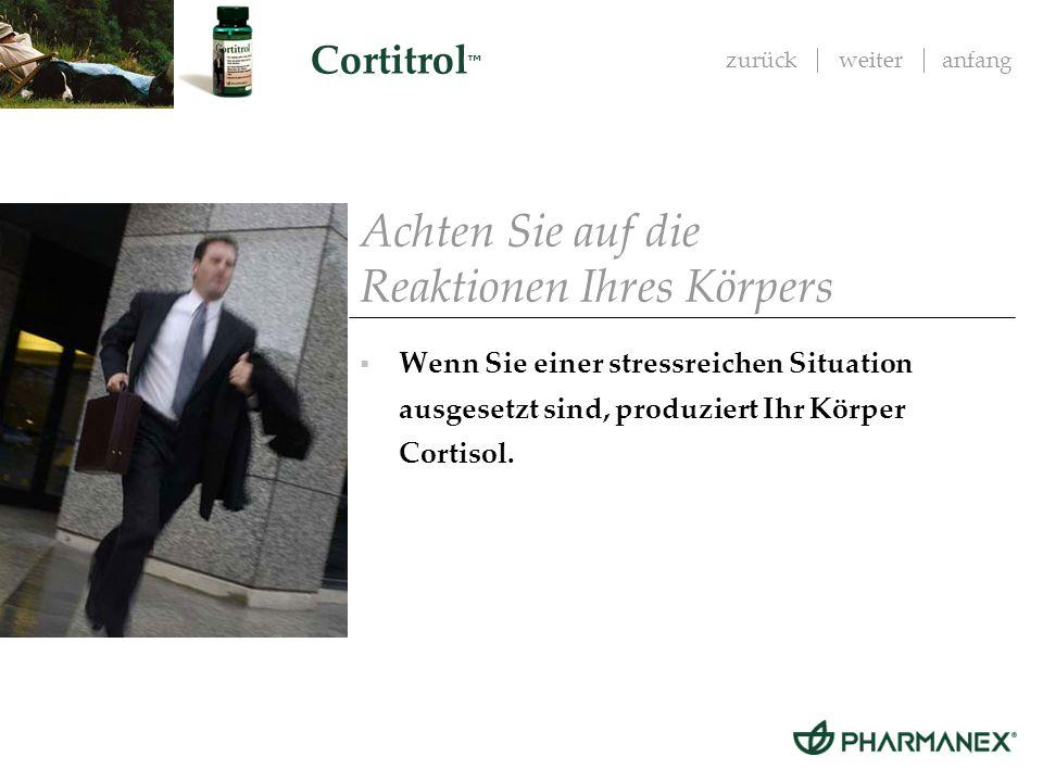 zurückweiteranfang Cortitrol Cortisol: ist die wichtigste Voraussetzung, um auf Notsituationen reagieren zu können ist ein Überlebensmechanismus reguliert Entzündungen, den Kohlenhydratstoff-wechsel und die kardiovaskuläre Funktion Achten Sie auf die Reaktionen Ihres Körpers