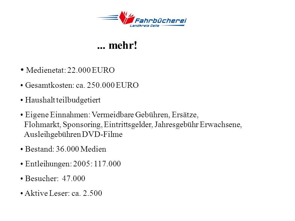 Fakten... gegründet 1981 als Nachfolgerin der Kreisbücherei Fahrzeug: Bücherbus (MAN, Firma Ludewig) seit 1992 Personal: 1 Dipl.-Bibliothekar, 3 Bibli