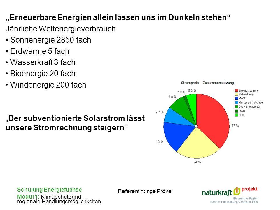 Schulung Energiefüchse Modul 1: Klimaschutz und regionale Handlungsmöglichkeiten Referentin:Inge Pröve Erneuerbare Energien allein lassen uns im Dunke