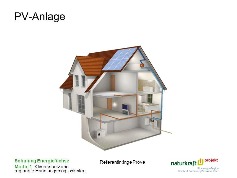 Schulung Energiefüchse Modul 1: Klimaschutz und regionale Handlungsmöglichkeiten Referentin:Inge Pröve PV-Anlage