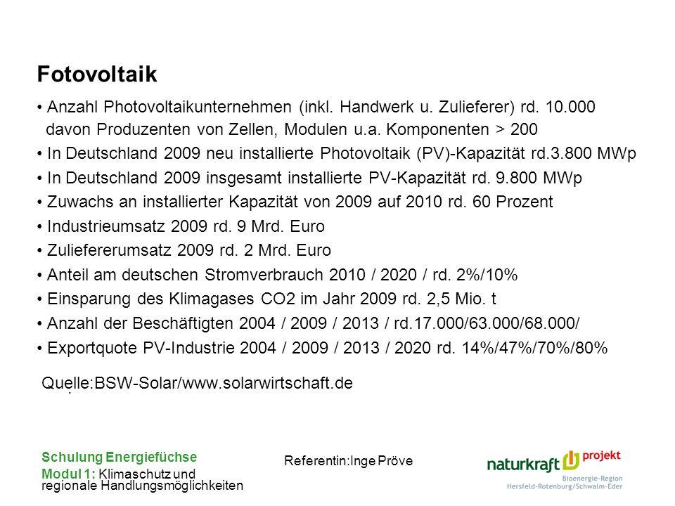 Schulung Energiefüchse Modul 1: Klimaschutz und regionale Handlungsmöglichkeiten Referentin:Inge Pröve Fotovoltaik Anzahl Photovoltaikunternehmen (ink