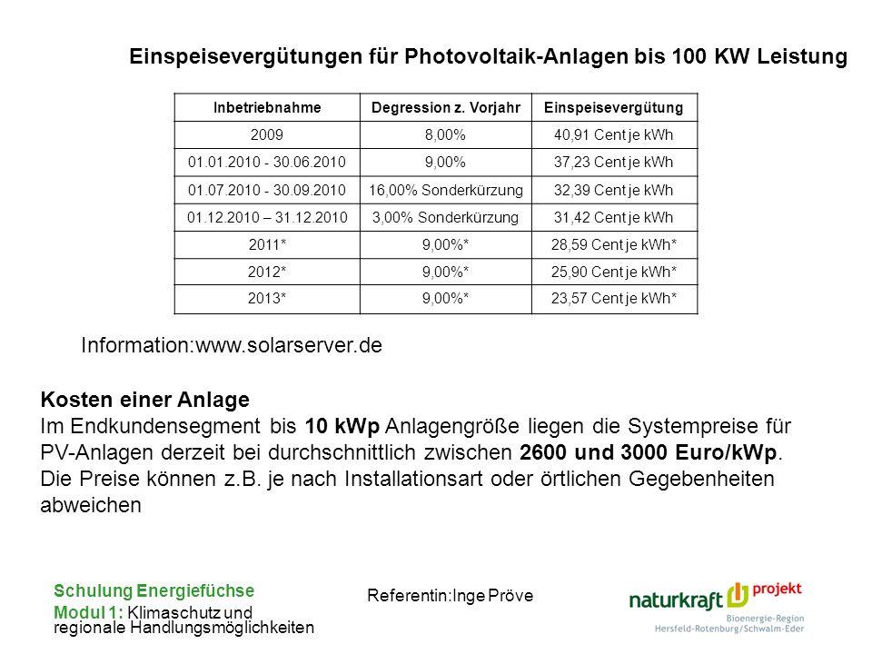 Schulung Energiefüchse Modul 1: Klimaschutz und regionale Handlungsmöglichkeiten Referentin:Inge Pröve InbetriebnahmeDegression z. VorjahrEinspeisever