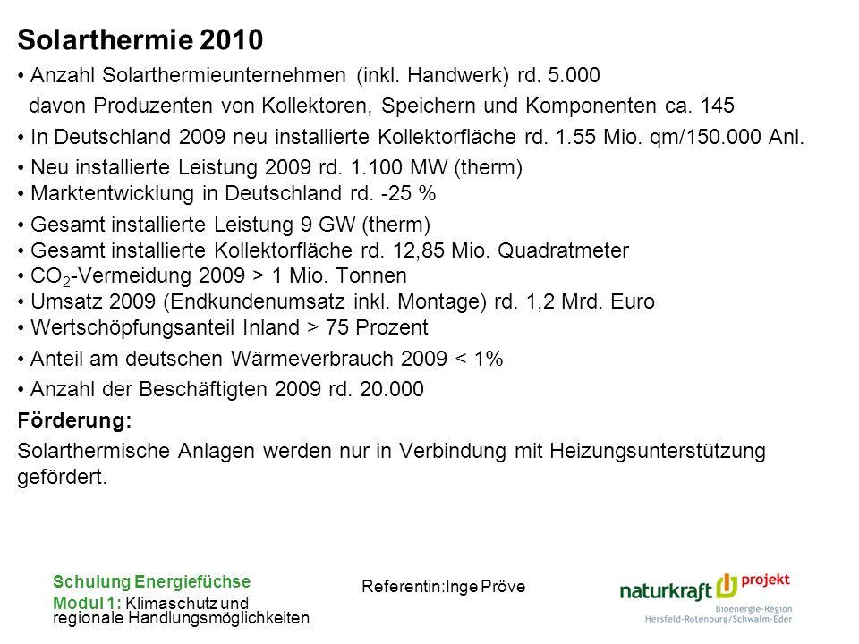 Schulung Energiefüchse Modul 1: Klimaschutz und regionale Handlungsmöglichkeiten Referentin:Inge Pröve Solarthermie 2010 Anzahl Solarthermieunternehme