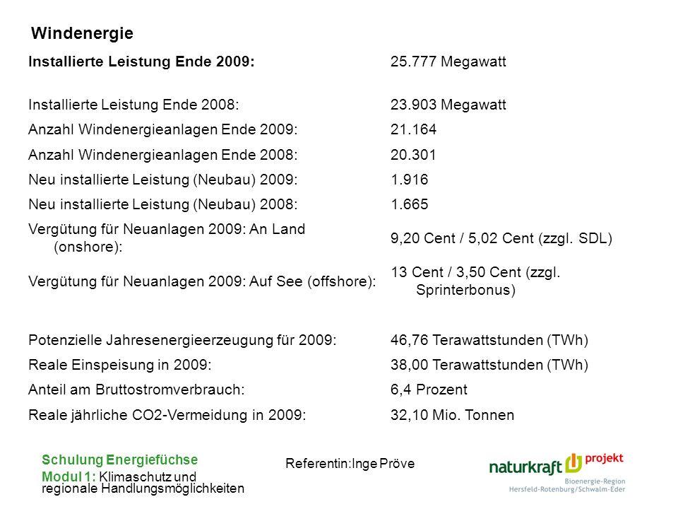 Schulung Energiefüchse Modul 1: Klimaschutz und regionale Handlungsmöglichkeiten Referentin:Inge Pröve Installierte Leistung Ende 2009:25.777 Megawatt