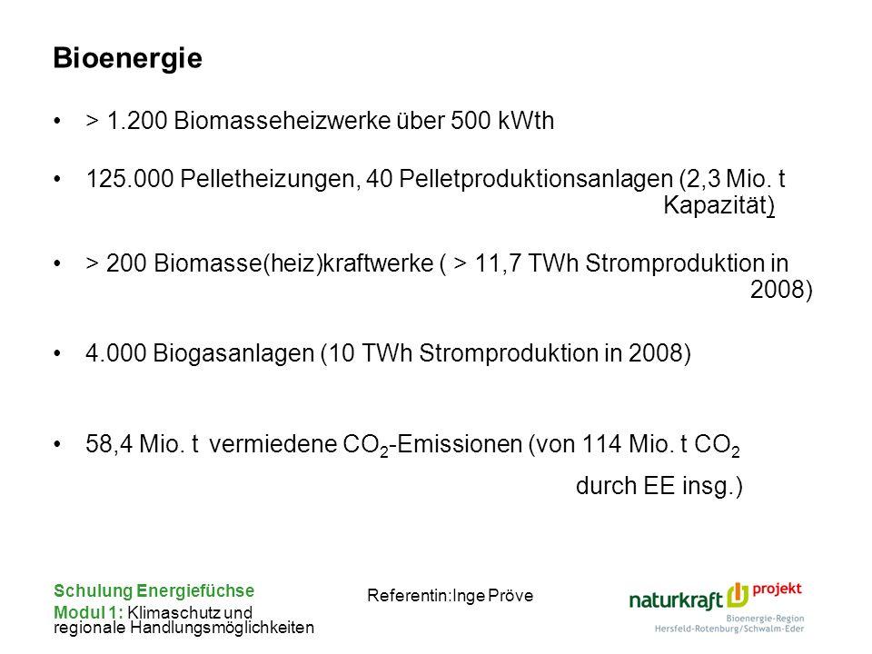 Schulung Energiefüchse Modul 1: Klimaschutz und regionale Handlungsmöglichkeiten Referentin:Inge Pröve Bioenergie > 1.200 Biomasseheizwerke über 500 k