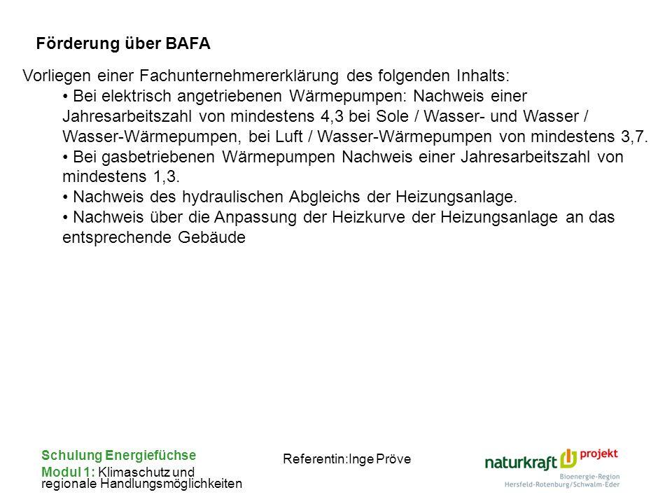 Schulung Energiefüchse Modul 1: Klimaschutz und regionale Handlungsmöglichkeiten Referentin:Inge Pröve Förderung über BAFA Vorliegen einer Fachunterne