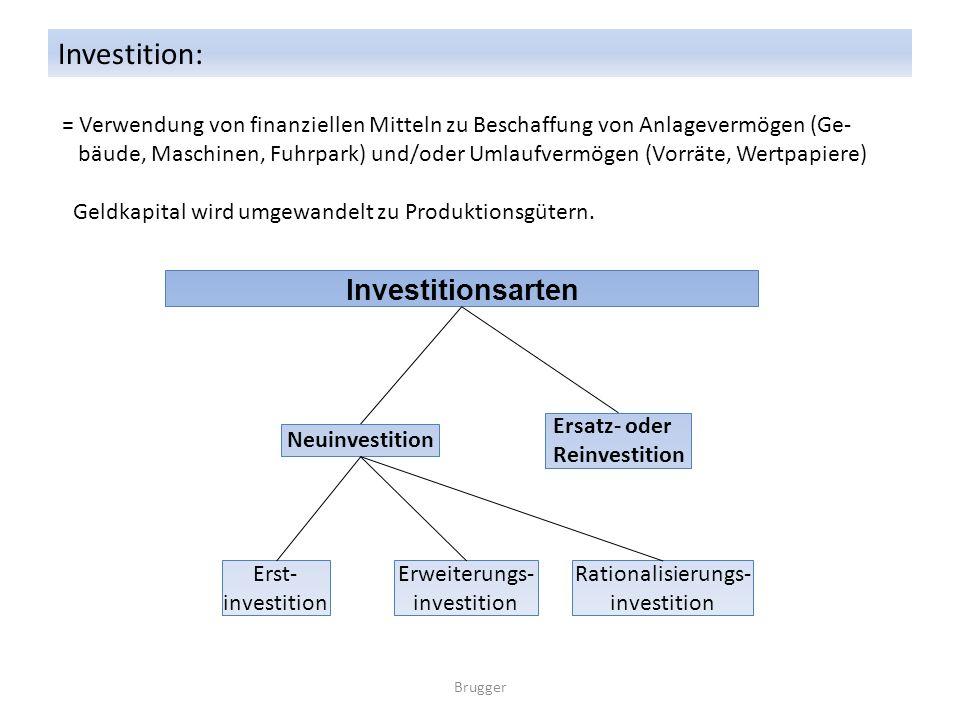 Investition: = Verwendung von finanziellen Mitteln zu Beschaffung von Anlagevermögen (Ge- bäude, Maschinen, Fuhrpark) und/oder Umlaufvermögen (Vorräte