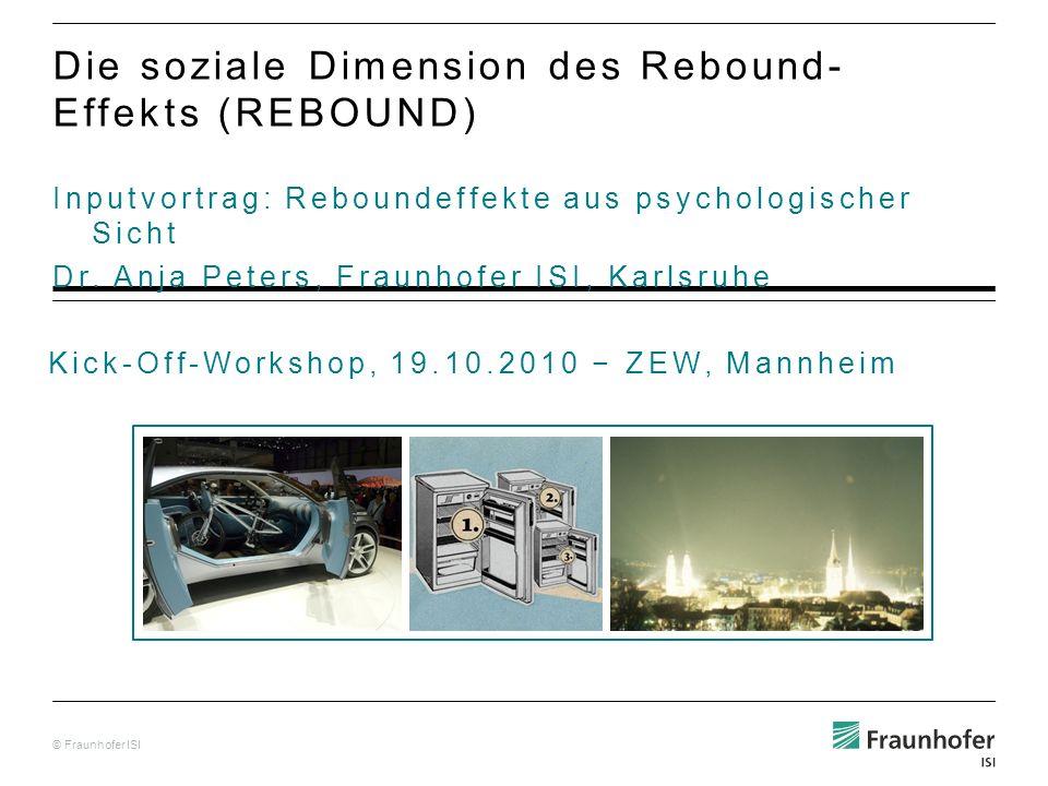© Fraunhofer ISI Inputvortrag: Reboundeffekte aus psychologischer Sicht Dr.