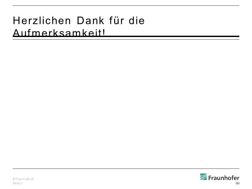 © Fraunhofer ISI Seite 21 Herzlichen Dank für die Aufmerksamkeit!