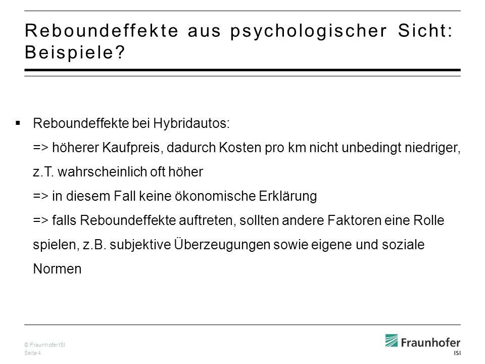 © Fraunhofer ISI Seite 4 Reboundeffekte aus psychologischer Sicht: Beispiele.