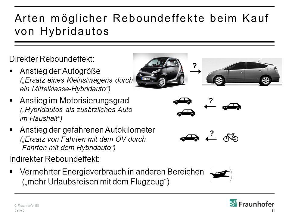 © Fraunhofer ISI Seite 7 Analyse von Größe und Anzahl von Autos, die beim Kauf eines Toyota Prius ersetzt wurden Befragung von 303 Käufern des Toyota Prius 2, Sept.