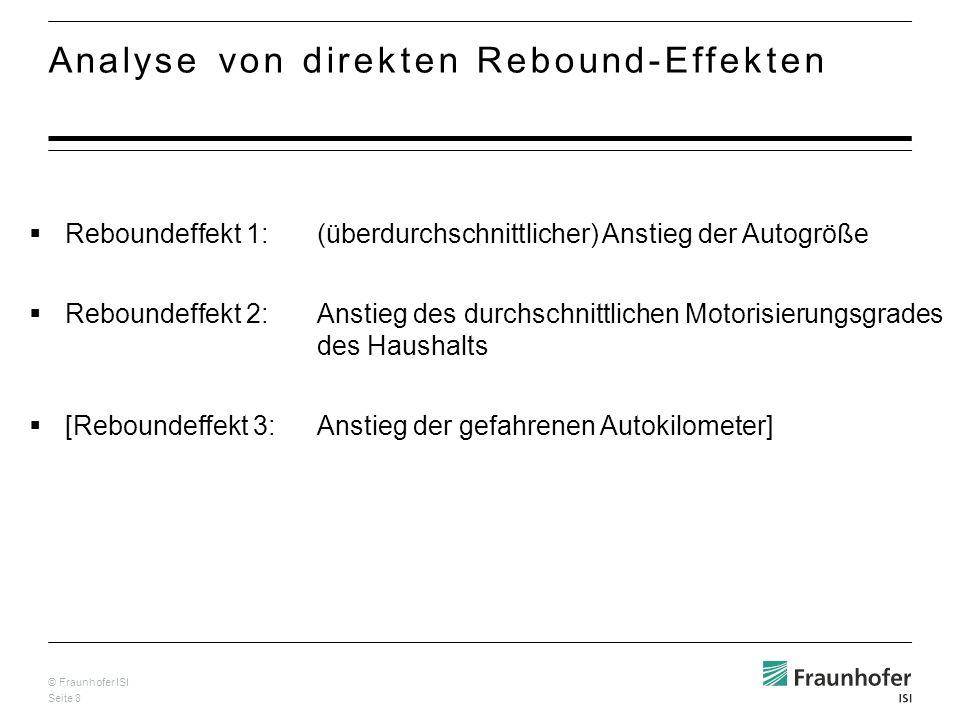 © Fraunhofer ISI Seite 8 Analyse von direkten Rebound-Effekten Reboundeffekt 1:(überdurchschnittlicher) Anstieg der Autogröße Reboundeffekt 2:Anstieg des durchschnittlichen Motorisierungsgrades des Haushalts [Reboundeffekt 3:Anstieg der gefahrenen Autokilometer]