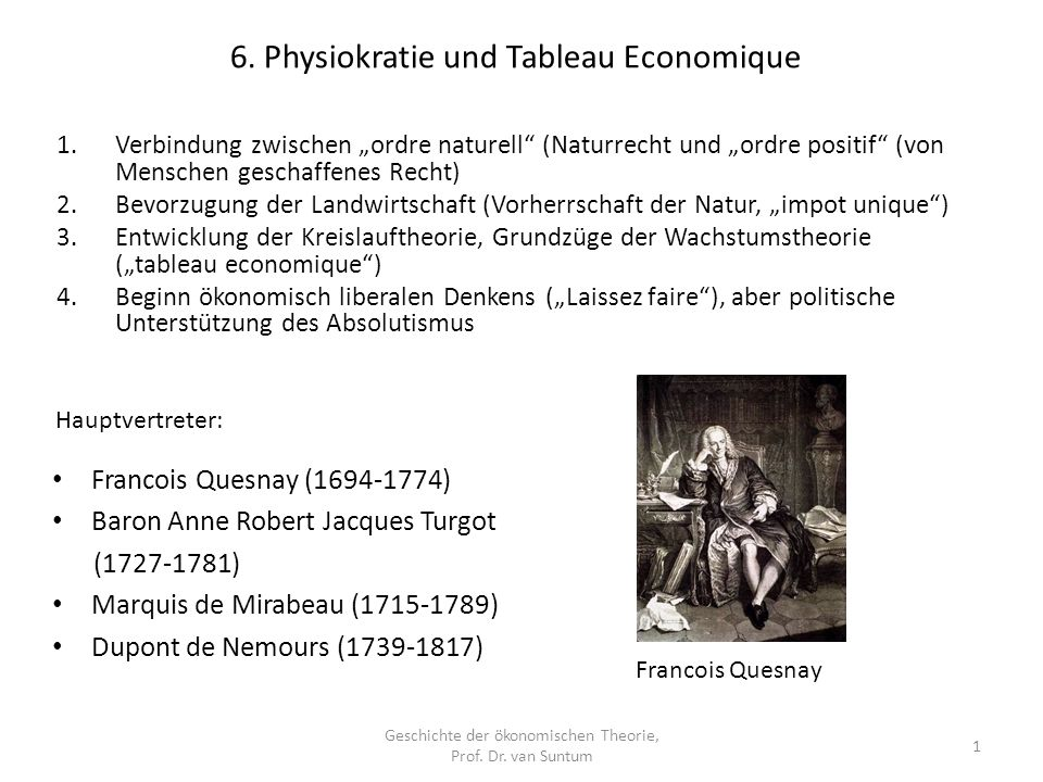 Geschichte der ökonomischen Theorie, Prof. Dr. van Suntum 1 Francois Quesnay (1694-1774) Baron Anne Robert Jacques Turgot (1727-1781) Marquis de Mirab