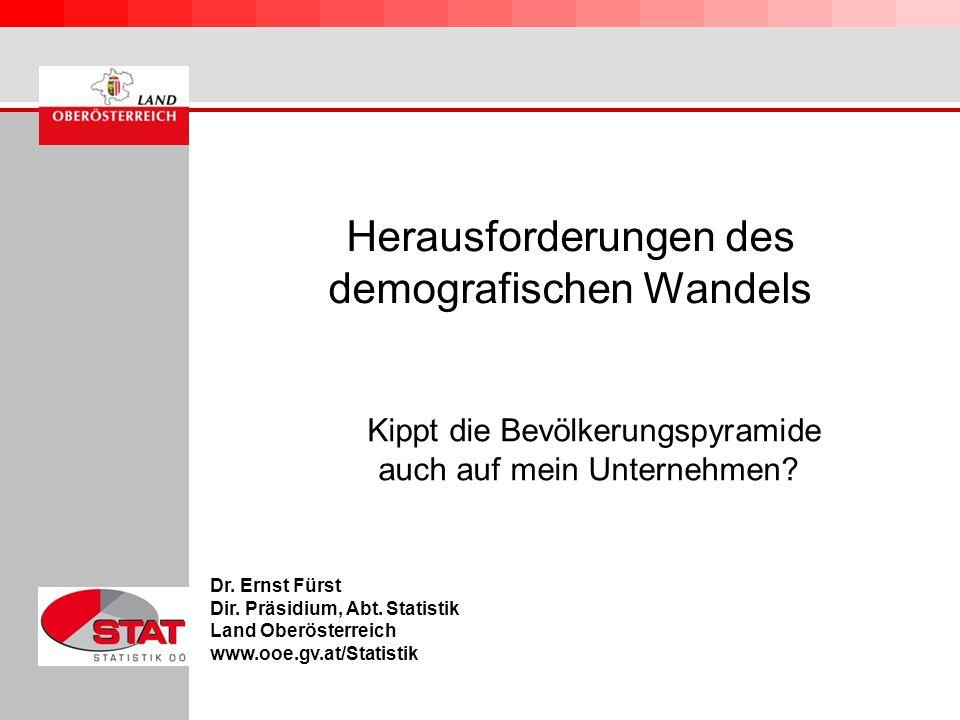 Herausforderungen des demografischen Wandels Kippt die Bevölkerungspyramide auch auf mein Unternehmen? Dr. Ernst Fürst Dir. Präsidium, Abt. Statistik