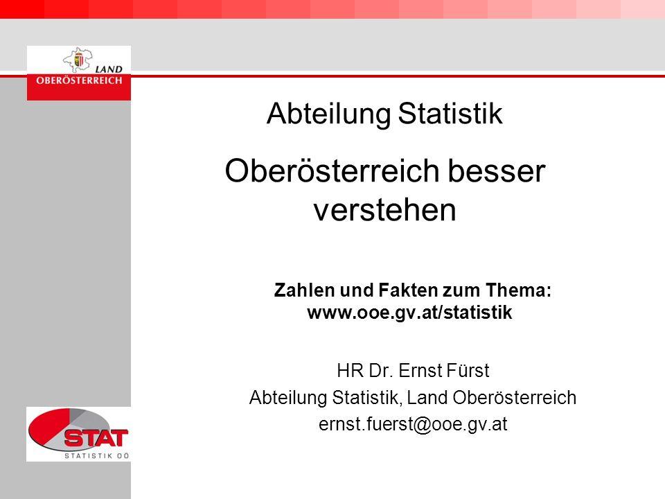 Abteilung Statistik Oberösterreich besser verstehen Zahlen und Fakten zum Thema: www.ooe.gv.at/statistik HR Dr. Ernst Fürst Abteilung Statistik, Land