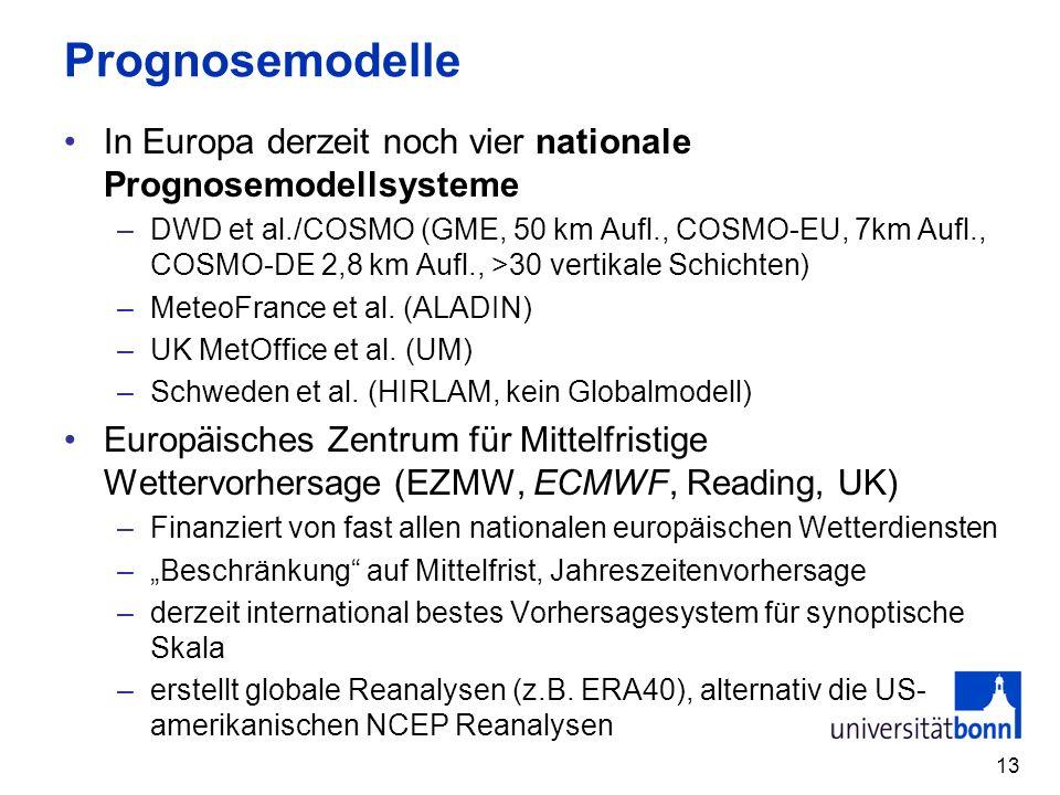 13 Prognosemodelle In Europa derzeit noch vier nationale Prognosemodellsysteme –DWD et al./COSMO (GME, 50 km Aufl., COSMO-EU, 7km Aufl., COSMO-DE 2,8