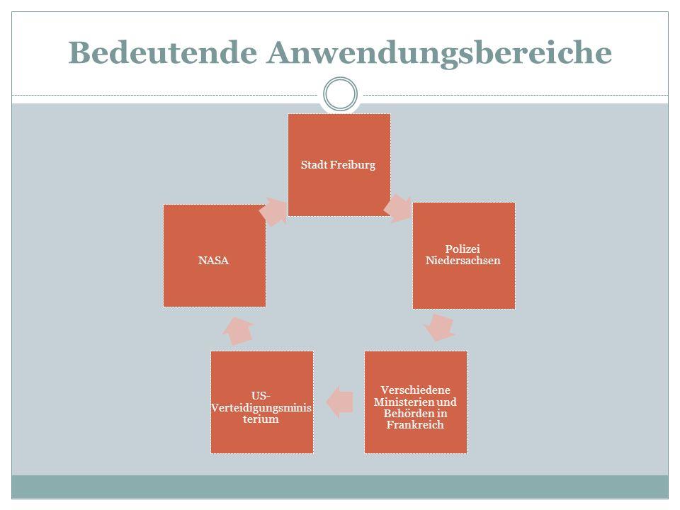 Bedeutende Anwendungsbereiche Stadt Freiburg Polizei Niedersachsen Verschiedene Ministerien und Behörden in Frankreich US- Verteidigungsminis terium NASA