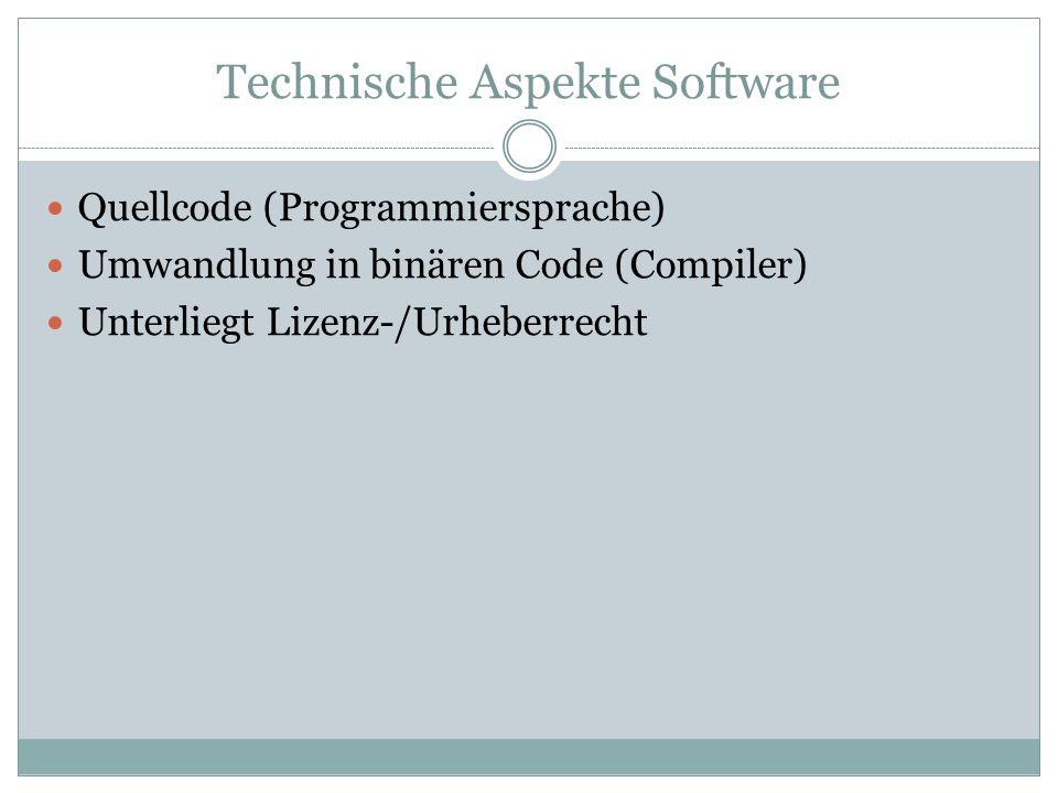 Technische Aspekte Software Quellcode (Programmiersprache) Umwandlung in binären Code (Compiler) Unterliegt Lizenz-/Urheberrecht
