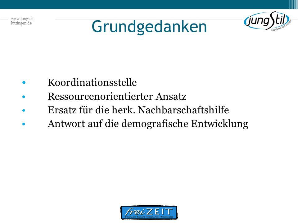 www.jungstil- kitzingen.de Grundgedanken Koordinationsstelle Ressourcenorientierter Ansatz Ersatz für die herk. Nachbarschaftshilfe Antwort auf die de