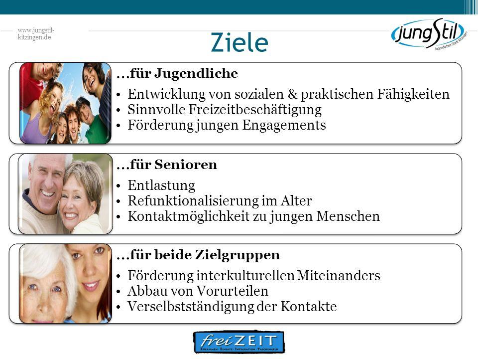www.jungstil- kitzingen.de Ziele … für Jugendliche Entwicklung von sozialen & praktischen Fähigkeiten Sinnvolle Freizeitbeschäftigung Förderung jungen