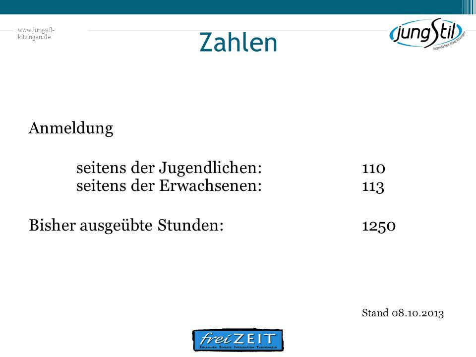 www.jungstil- kitzingen.de Zahlen Anmeldung seitens der Jugendlichen:110 seitens der Erwachsenen: 113 Bisher ausgeübte Stunden:1250 Stand 08.10.2013