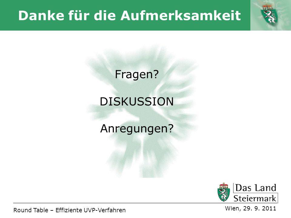 Autor Danke für die Aufmerksamkeit Fragen? DISKUSSION Anregungen? Round Table – Effiziente UVP-Verfahren Wien, 29. 9. 2011