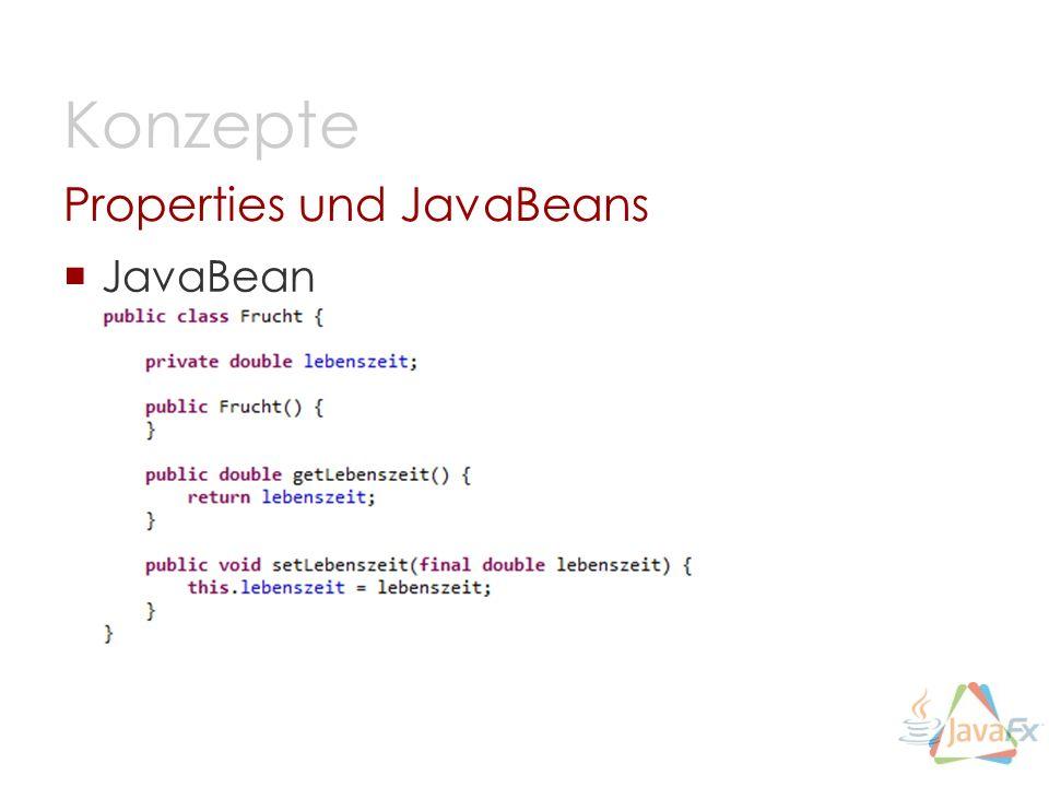JavaBean Properties und JavaBeans Konzepte
