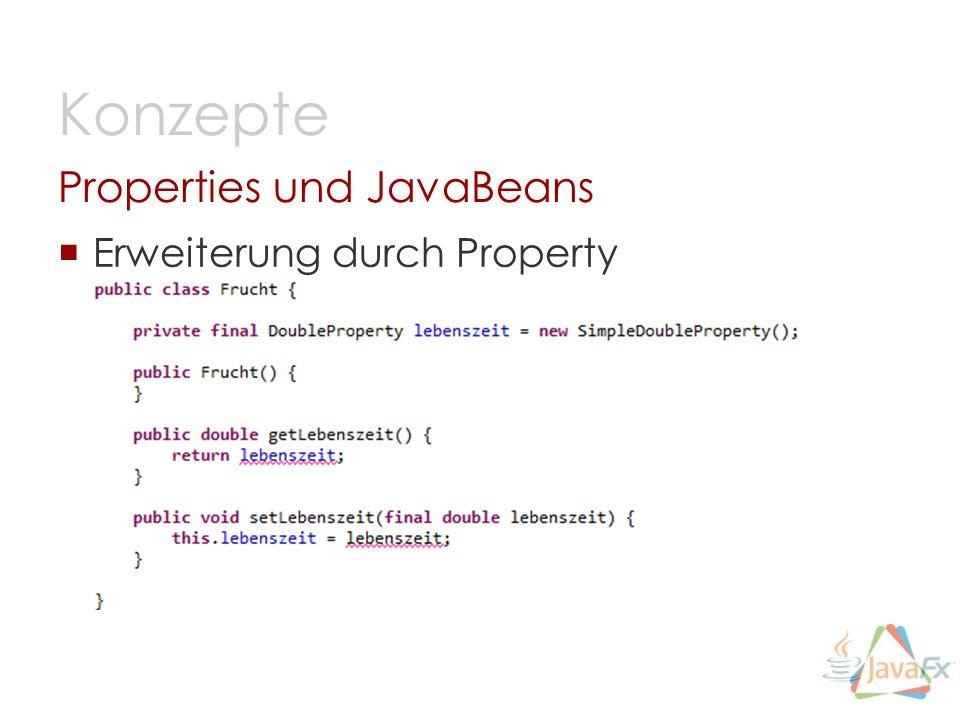 Erweiterung durch Property Properties und JavaBeans Konzepte