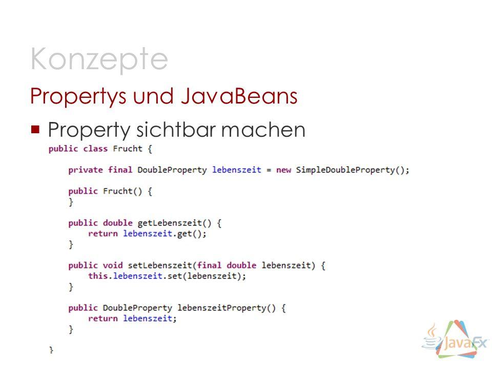 Property sichtbar machen Propertys und JavaBeans Konzepte