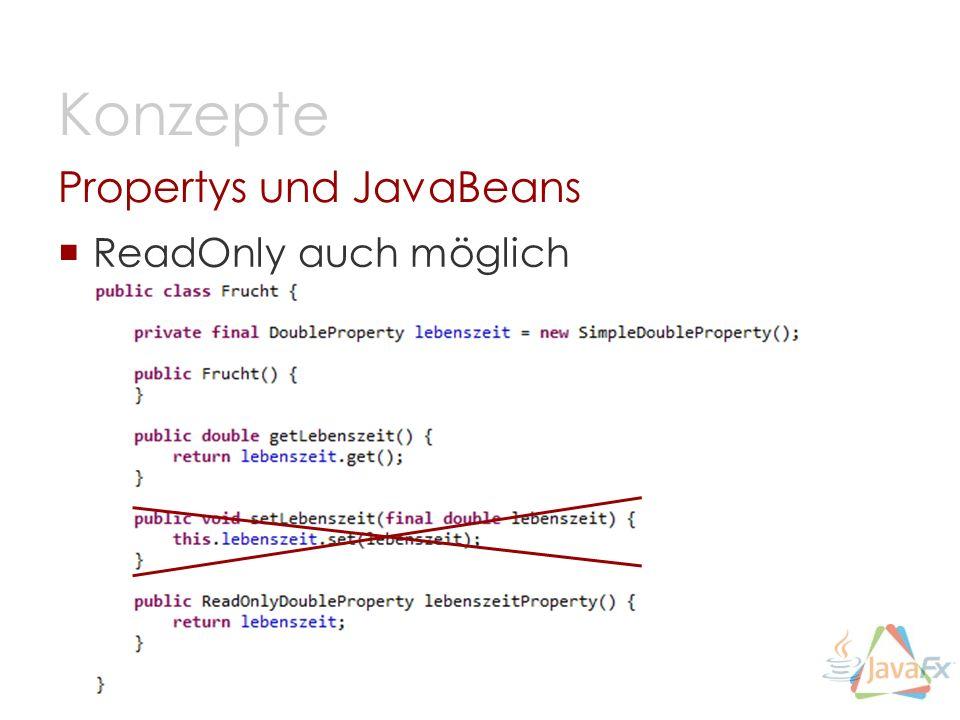 ReadOnly auch möglich Propertys und JavaBeans Konzepte
