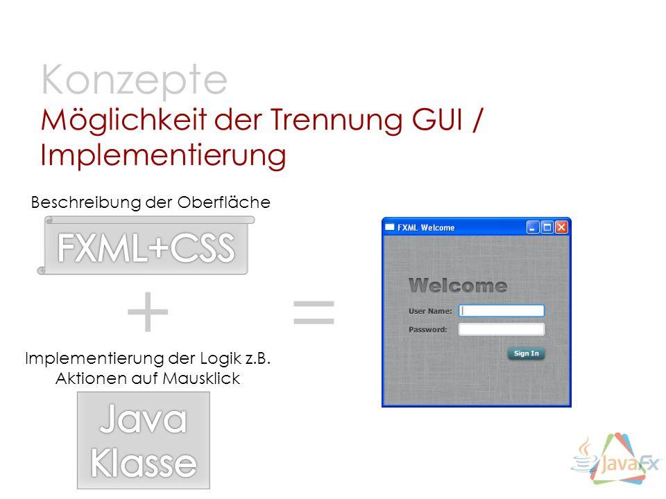 Möglichkeit der Trennung GUI / Implementierung Konzepte Beschreibung der Oberfläche Implementierung der Logik z.B. Aktionen auf Mausklick + =