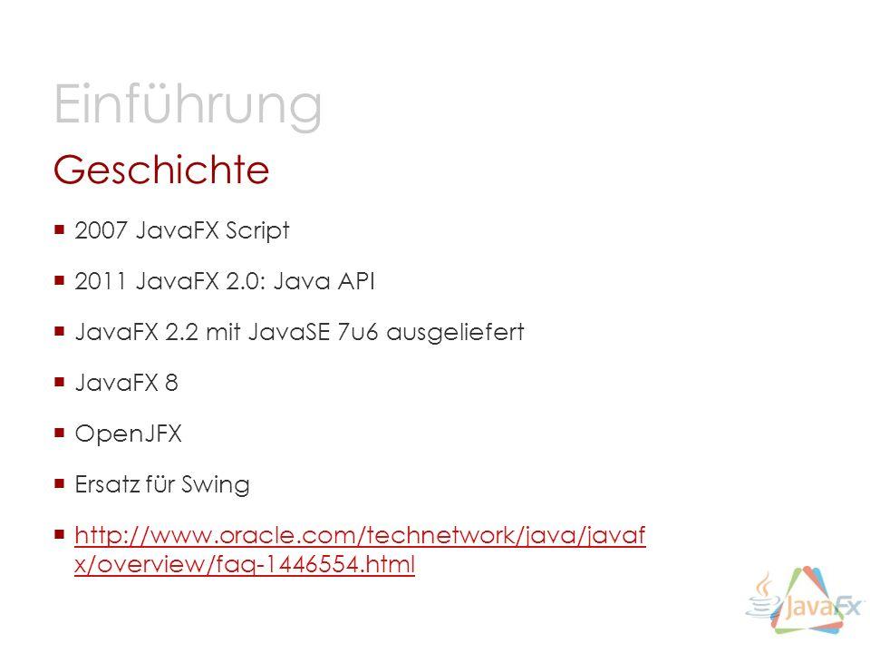 Geschichte 2007 JavaFX Script 2011 JavaFX 2.0: Java API JavaFX 2.2 mit JavaSE 7u6 ausgeliefert JavaFX 8 OpenJFX Ersatz für Swing http://www.oracle.com/technetwork/java/javaf x/overview/faq-1446554.html http://www.oracle.com/technetwork/java/javaf x/overview/faq-1446554.html Einführung