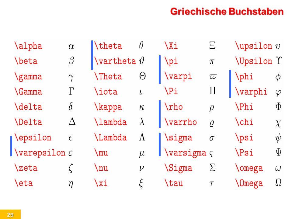 29 Griechische Buchstaben