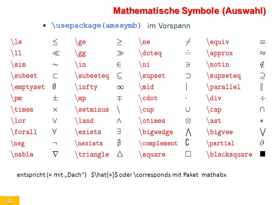 31 \usepackage{amssymb} im Vorspann Mathematische Symbole (Auswahl) entspricht (= mit Dach) $\hat{=}$ oder \corresponds mit Paket mathabx