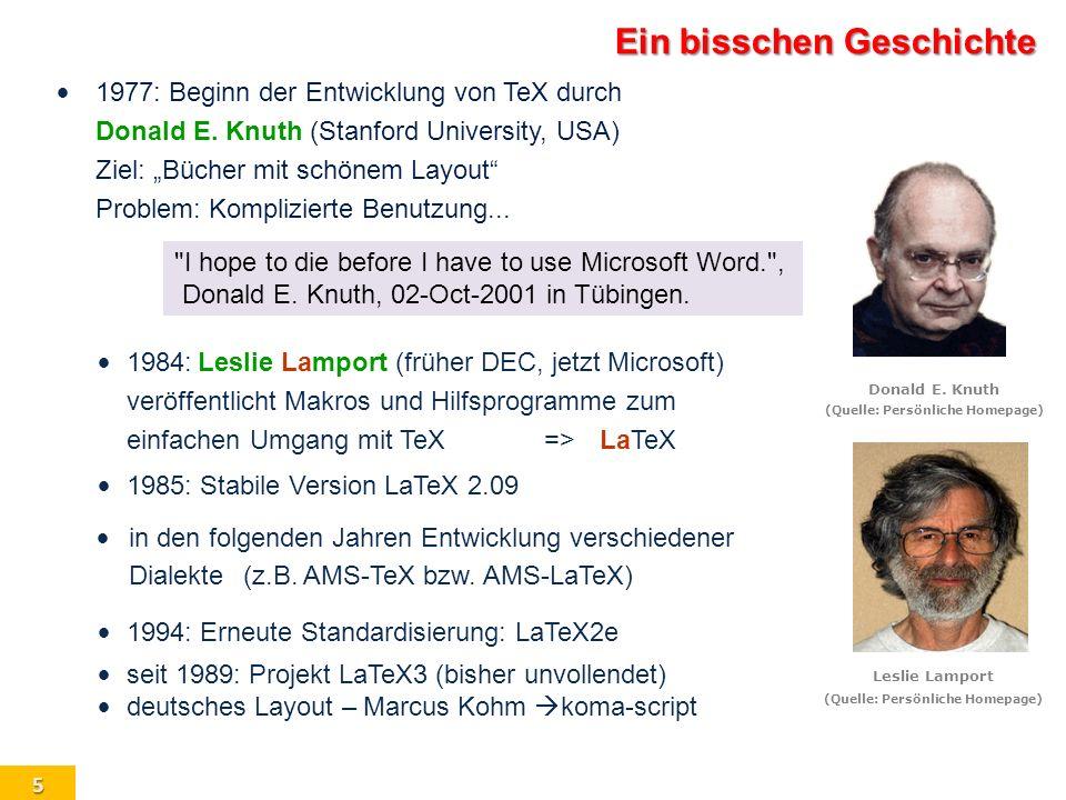 6 Suchen Abbruch VorherigeN¨achsteLetzte T E X ist ein Programm T E X ist eine Programmiersprache (insbesondere mit Makros) T E X ist ein System von Programmen Zur Bezeichnung Aussprache: wie in τ εχ (griech.) Kunst, Technik Schreibweise: T E X, ersatzweise TeX es gibt das T E X-Makro \TeX T E X analog: plain\TeX plainT E X \AmSTeX A M S -T E X \LaTeX L A T E X \LaTeXe L A T E X 2 ε plainTEX, A M S -T E X, L A T E X, L A T E X2 ε, ConT E Xt sind umfangreiche Makro-Pakete (quasi: Unterprogrammsammlungen) Was ist T E X?