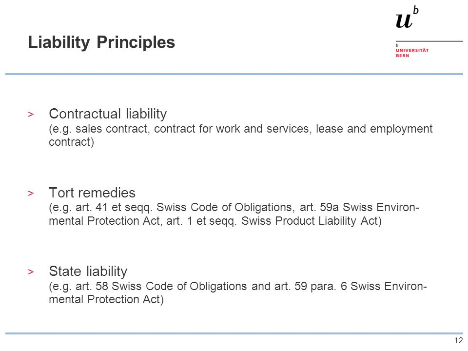 12 Liability Principles > Contractual liability (e.g. sales contract, contract for work and services, lease and employment contract) > Tort remedies (