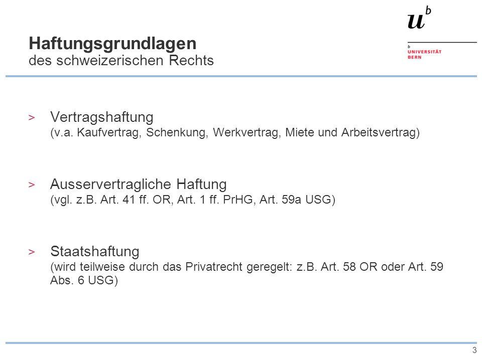 3 Haftungsgrundlagen des schweizerischen Rechts > Vertragshaftung (v.a. Kaufvertrag, Schenkung, Werkvertrag, Miete und Arbeitsvertrag) > Ausservertrag
