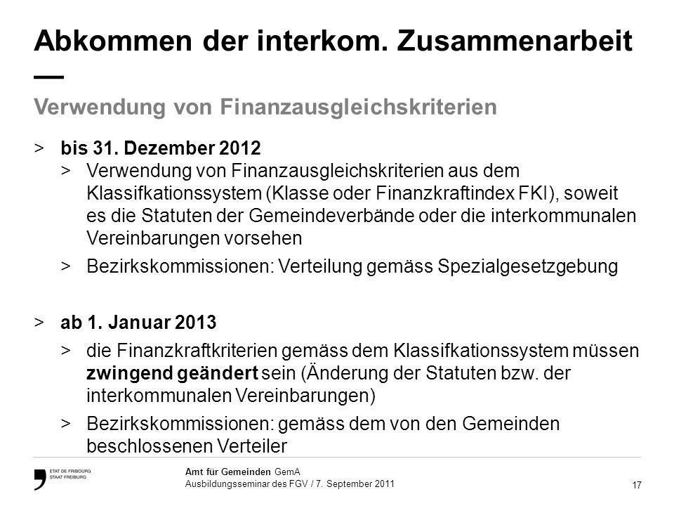 17 Amt für Gemeinden GemA Ausbildungsseminar des FGV / 7.
