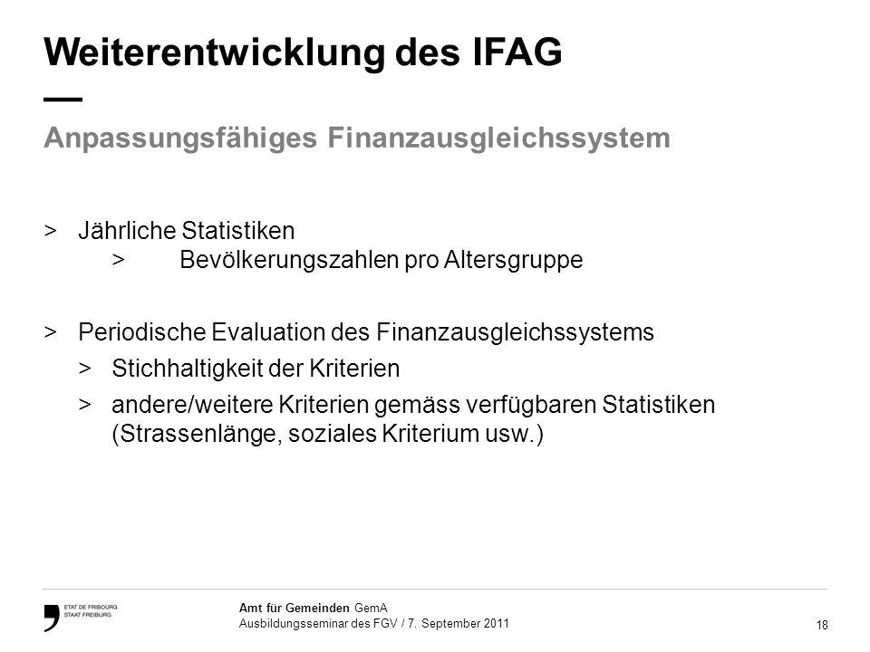 18 Amt für Gemeinden GemA Ausbildungsseminar des FGV / 7.