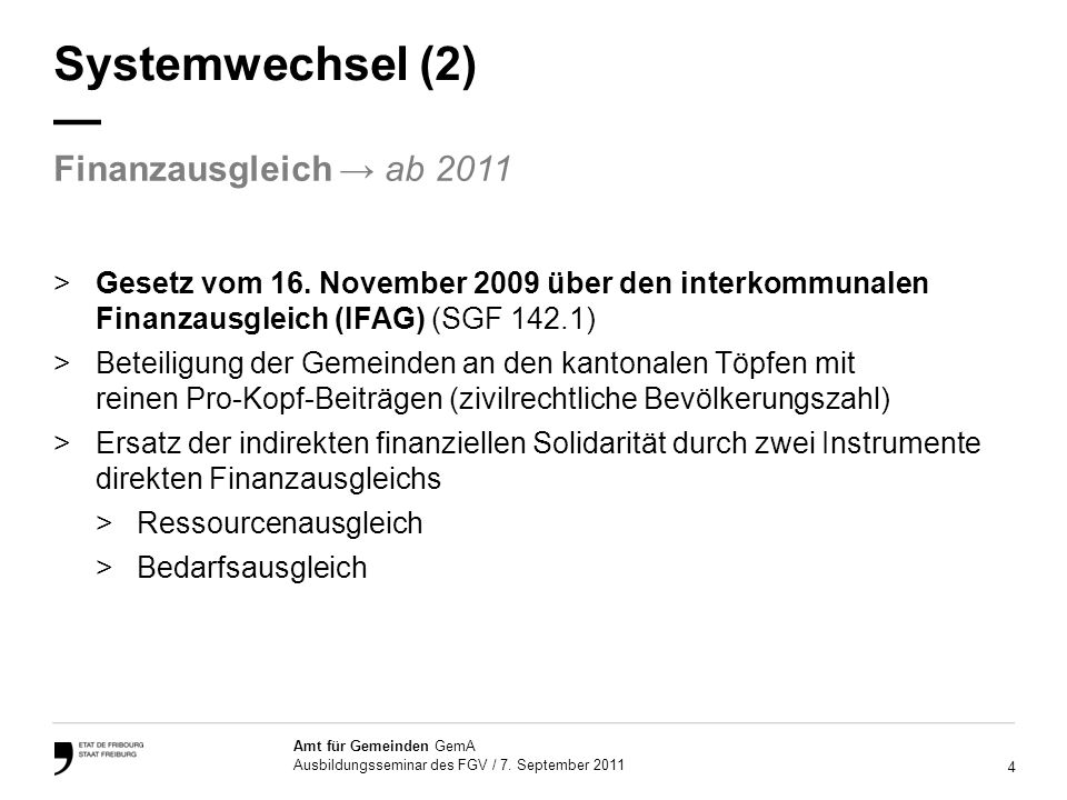 4 Amt für Gemeinden GemA Ausbildungsseminar des FGV / 7.