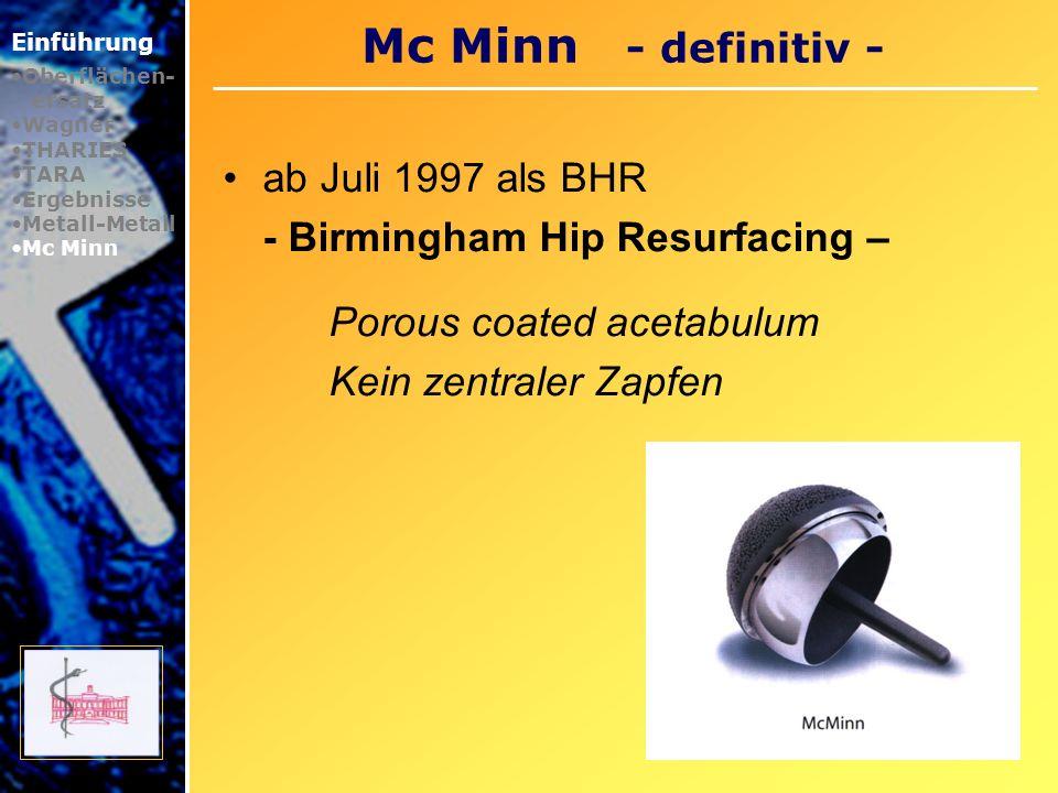 Epidemiologie Einführung Oberflächen- ersatz Wagner THARIES TARA Ergebnisse Metall-Metall Mc Minn Epidemiologie 10 % des Gesamtmarktes Wahleingriffe Ca.12 000 Stück 2005 Mittelfristig 20 % Segment mit stärkstem Wachstum Momentan 5 Anbieter î Basierend auf McMinn; 1992