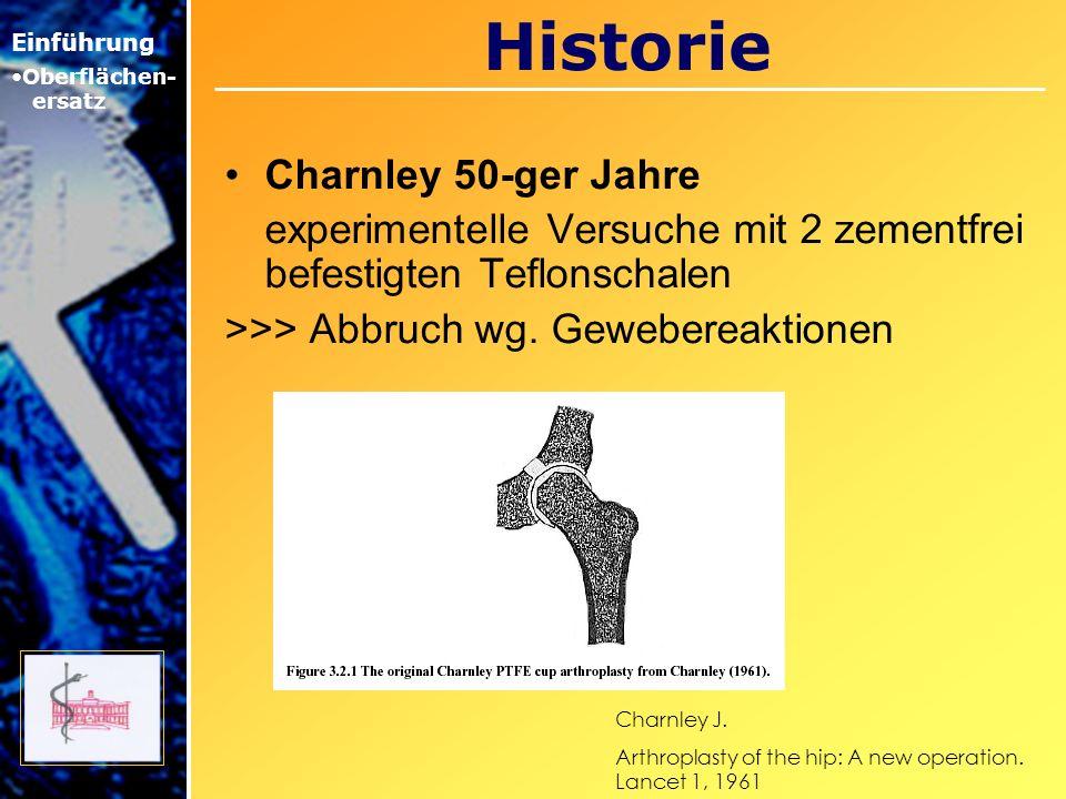 Historie Charnley 50-ger Jahre experimentelle Versuche mit 2 zementfrei befestigten Teflonschalen >>> Abbruch wg. Gewebereaktionen Einführung Oberfläc