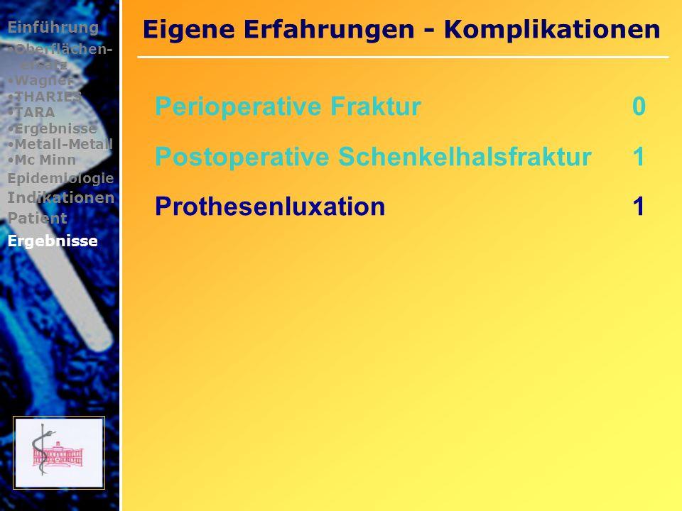 Eigene Erfahrungen - Komplikationen Einführung Oberflächen- ersatz Wagner THARIES TARA Ergebnisse Metall-Metall Mc Minn Epidemiologie Indikationen Pat