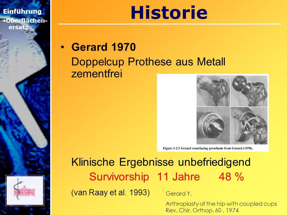 Historie Gerard 1970 Doppelcup Prothese aus Metall zementfrei Klinische Ergebnisse unbefriedigend Survivorship 11 Jahre 48 % (van Raay et al. 1993) Ei
