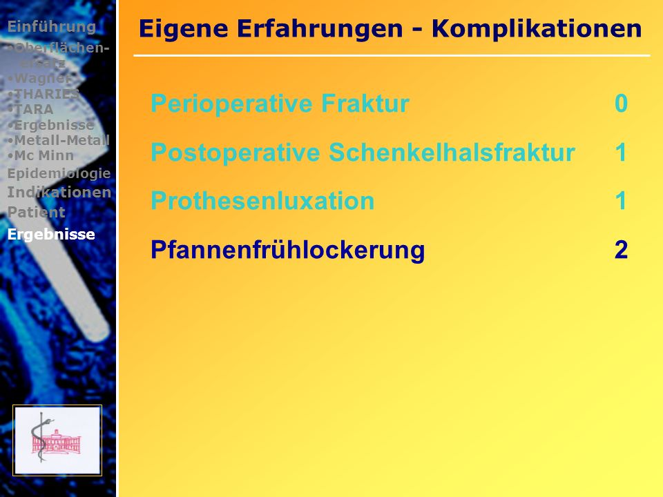 Eigene Erfahrungen - Komplikationen Einführung Oberflächen- ersatz Wagner THARIES TARA Ergebnisse Metall-Metall Mc Minn Epidemiologie Indikationen Patient Ergebnisse
