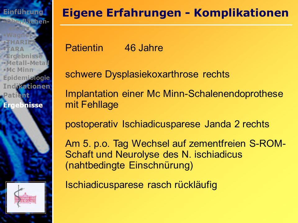 Mittelfristige Ergebnisse Einführung Oberflächen- ersatz Wagner THARIES TARA Ergebnisse Metall-Metall Mc Minn Epidemiologie Indikationen Patient Ergebnisse Daniel J.