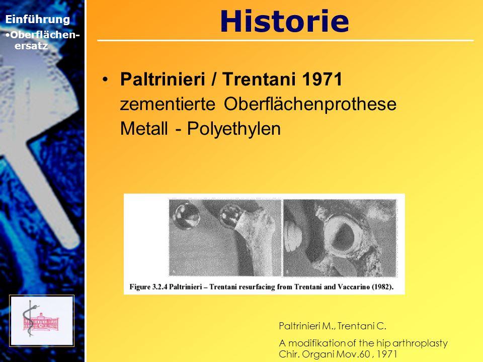 Historie Paltrinieri / Trentani 1971 zementierte Oberflächenprothese Metall - Polyethylen Einführung Oberflächen- ersatz Paltrinieri M., Trentani C. A