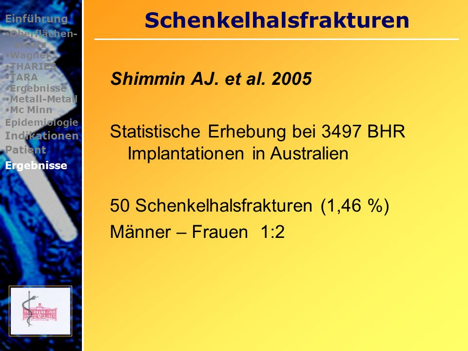 Biomechanik Einführung Oberflächen- ersatz Wagner THARIES TARA Ergebnisse Metall-Metall Mc Minn Epidemiologie Indikationen Patient Ergebnisse Biomechanik Materialabrieb: Hüftsimulatoren - Anissian, H.L.