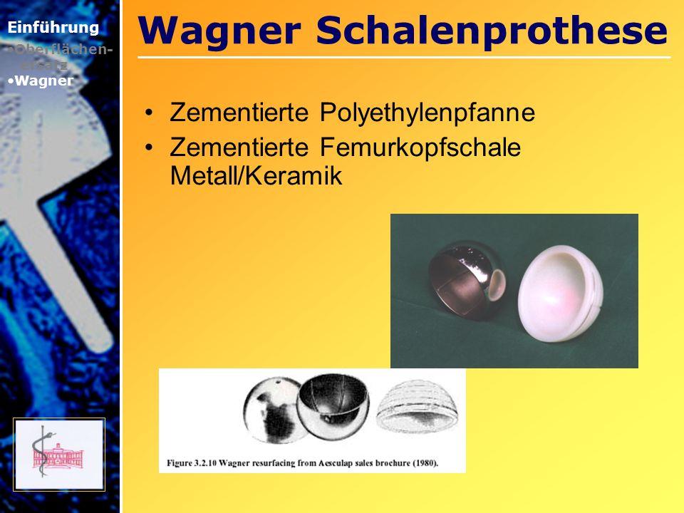 Wagner Schalenprothese Zementierte Polyethylenpfanne Zementierte Femurkopfschale Metall/Keramik Einführung Oberflächen- ersatz Wagner